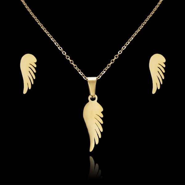 Stainless Steel Gold Color Angel's Wing Jewelry Set for Women Angel Wings Necklace Earrings Sets for party gift wholesale