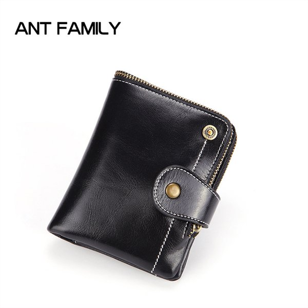 Designer Wallet Genuine Leather Wallet Short Hasp Coin Purse Slim Wallets RFID Fashion High Capacity Oil Wax Leather Wallets Porte monnaie