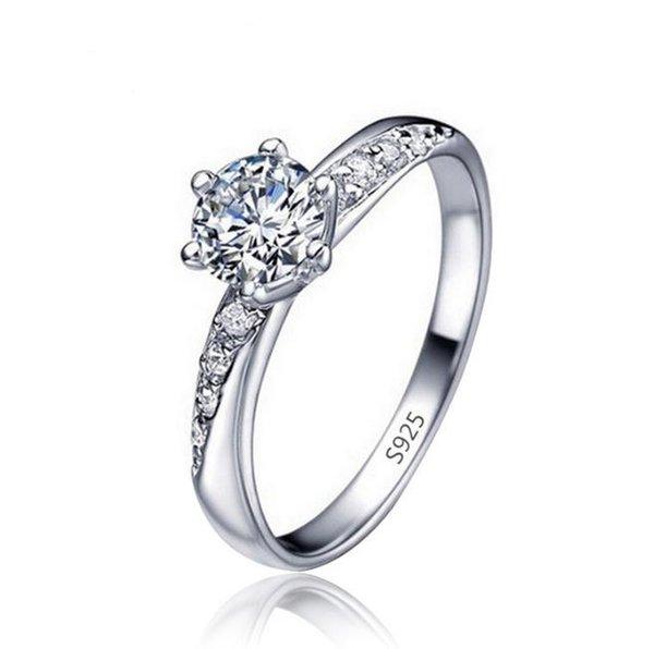 Explosive Mode einfachen klassischen vergoldeten Weißgold Diamant-Ring Handschmuck einfachen Ring