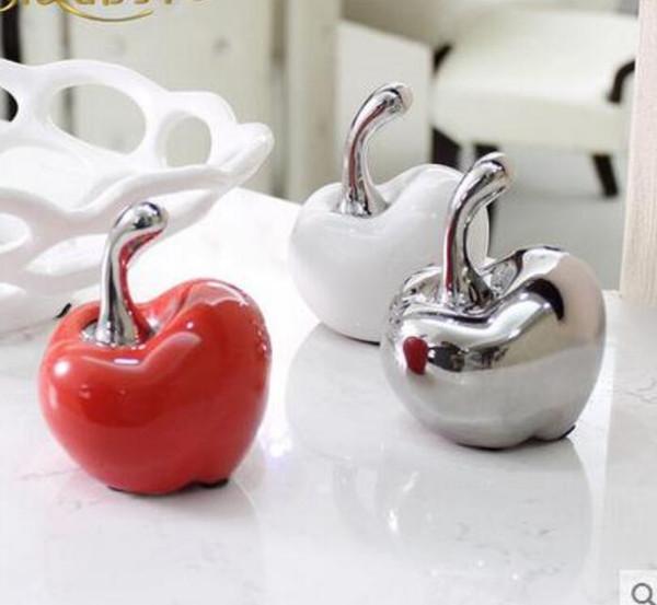 Blanco rojo cerámica de Apple decoración del hogar artesanías decoración de la habitación adornos de cerámica porcelana figurines artículos de navidad decoraciones