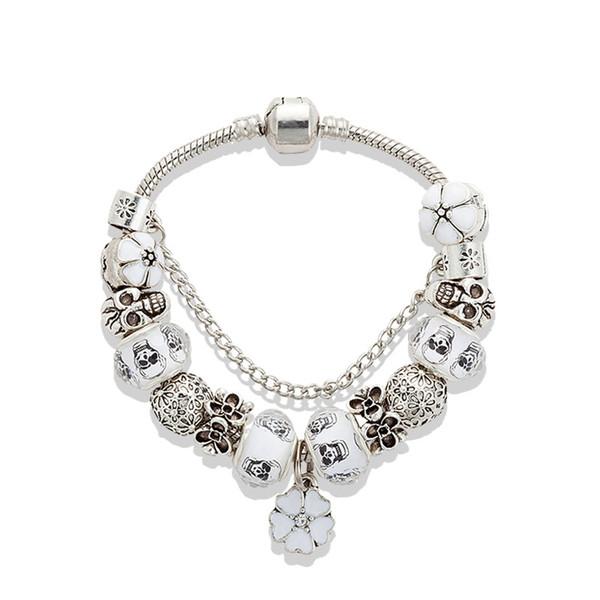 Weiße Kirschblüten Anhänger Armband 925 Silber Schädel Charm European Beads Armband für Frauen Schmuck DIY