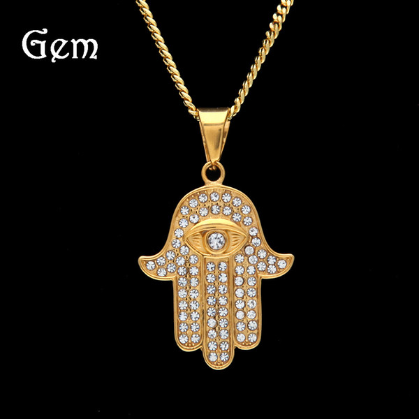 Stainless Steel Men Hip Hop Hamsa Hand Pendant Necklaces Fashion 60cm Long Chain Vintage Necklace Women Hiphop Jewelry Gift