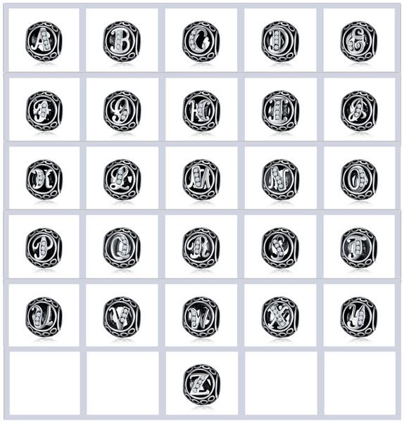 A-Z 26 STÜCKE Brief Perlen Für Pandora Charms Halskette Armbänder Schmuck Anhänger Zubehör Hohl Legierung Kristall Perlen Weihnachtsgeschenk
