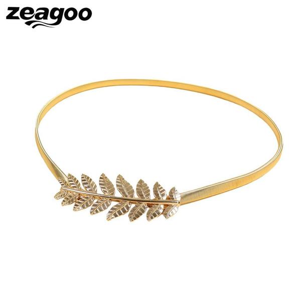 Zeagoo Ouro Moda Feminina Exclusivo Folhas de design de Metal Elástico Na Cintura Estiramento Cinto Fino Cummerbunds Casamento De Metal Cintos Femininos