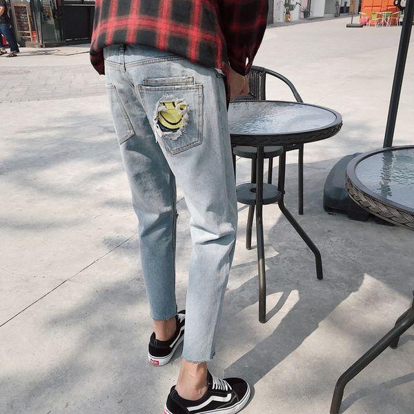 2018 Männer Appliques Dekoration Löcher Denim Casual Hosen Stretch Slim Skinny Biker Jeans Blau Mode Original Hosen 28-33