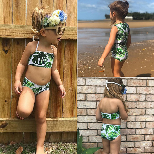 top popular Banana Leave Swimsuit Kids Baby Girls Green Tankini Bikini Swimwear Bathing Suit Green Summer Cute Two-pieces or One-piece Set Clothing 2021