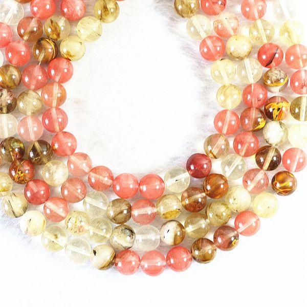 qualidade e quantidade garantida qualidade confiável Natural Melancia Pedra Redonda Loose Spacer Beads Encontrar 4/6/8/10 MM