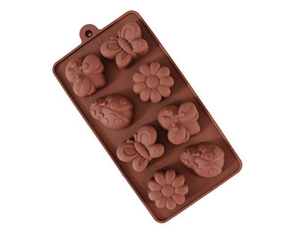 Molde de silicona para chocolate - Pasta fabricante de jabón Molde de mariposa escarabajo de mariposa Moldes de pudín de jalea de flor