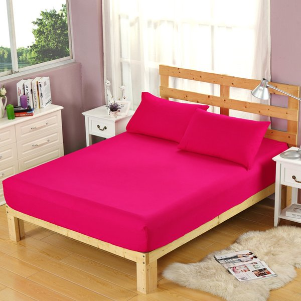 3pcs/lot 100% Polyester Bedding Sets Rose Red Color Fitted Sheet Pillowcase Sets For Kids Adults Single Double Bed XF335-12