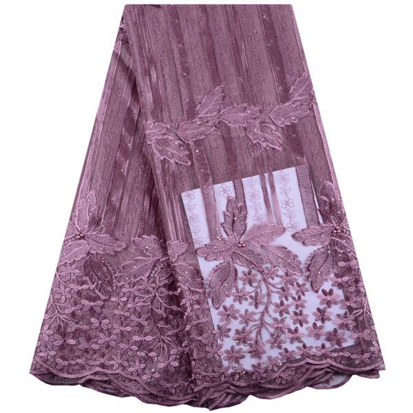 Tessuto di pizzo africano all'ingrosso con perline Design Ricamo Tulle Tessuto di pizzo di vendita calda francese tessuto di pizzo netto per il vestito da cucire