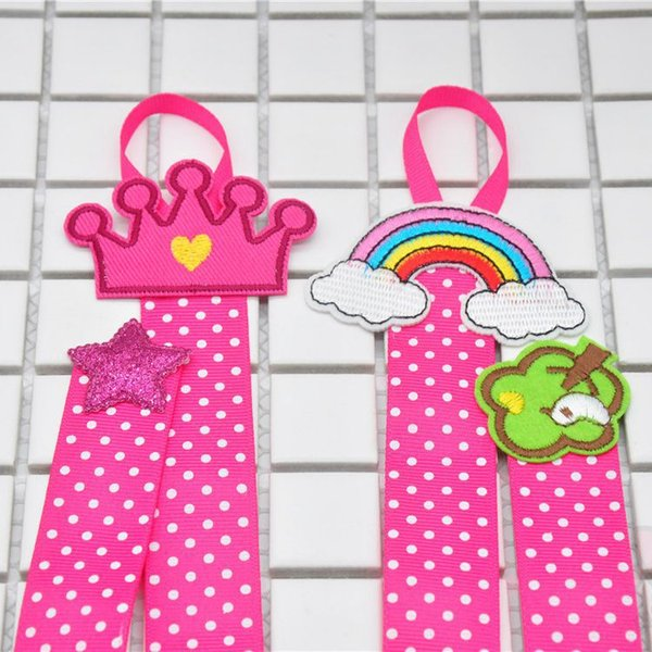 Boutique Bow Holder With Felt Hair Bow For Kid Girl Hair Accessories Storage Dots Rainbow tree crown embroideried Hair Clip Organizer X016