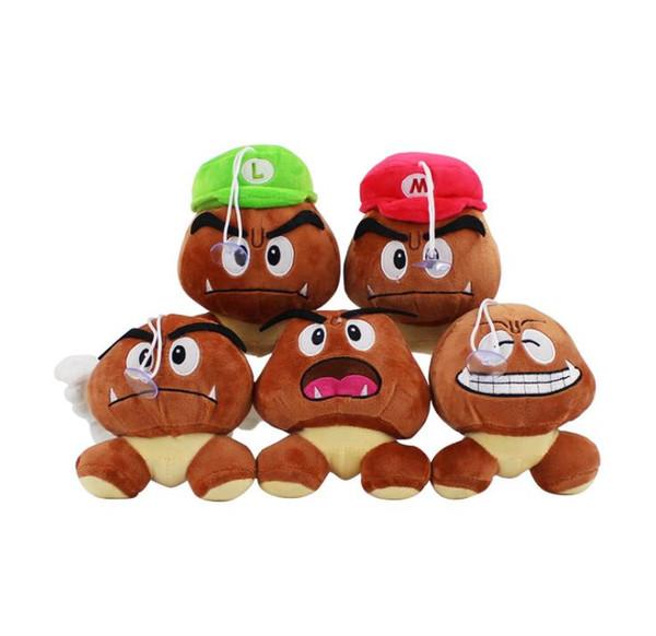 13cm Super Mario Bros Peluche Bambola morbida Goomba Con Mario Luigi Cappello Bambola Goomba Peluche Bambole ripiene 5 design KKA5884