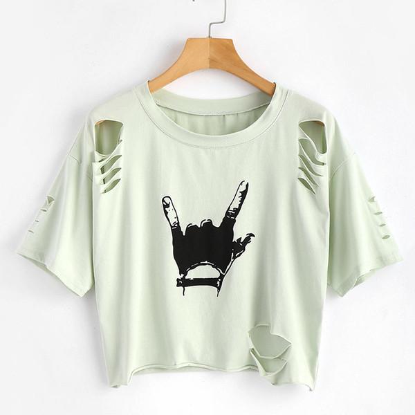 Kadın kısa kollu Tişört 2018 Avrupa ve Amerikan moda kalitesi 3D dijital baskı yeni delik modelleri bayanlar T-shirt