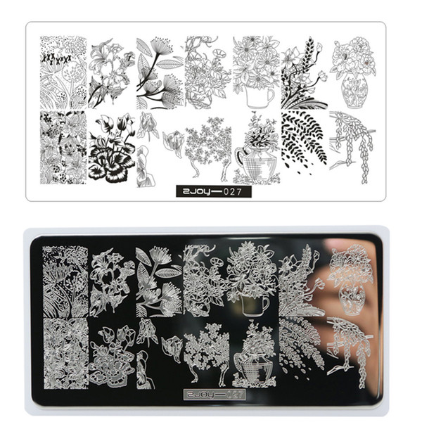 ZJOY Negative Space Leaves Flowers Nail Paltes Nail Art Stamp Template 1Pcs Set 12.5*6.5cm Rectangle DIY Art Kits Template