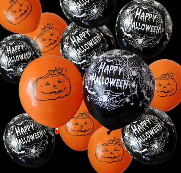 12inch Halloween Latex Ball Spider Pumpkin Black Orange ballons Party Decoration Bar Props Gifts Halloween supplies 100pcs/lot FFA717 50lots