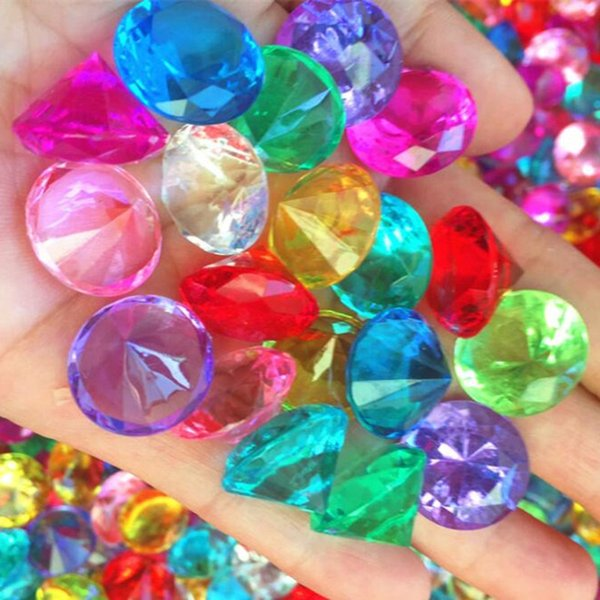 Kids Colorful 20mm Acrylic Crystal Faux Diamond Jewels Children Lucky Gems Wedding Decoration Halloween Party Favors Christmas