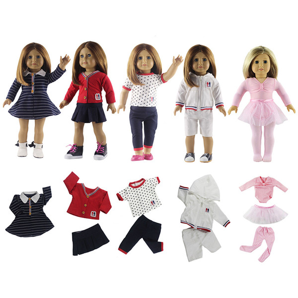 "18"" American Girl Doll Clothes Fashion 5Pcs Pattern Outfits Casual Dolls T-shirt Dress Shoes Washable DIY Doll Suit Clothes"