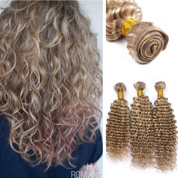 Piano Color Deep Wave Extensiones de cabello humano Two Color 8 613 Deep Curly Medium Brown mix with Bleach Cabello rubio
