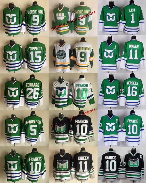 Vintage Hartford Whalers 9 GORDIE HOWE 10 Ron Francis 11 Kevin Dineen  Ferraro Samuelsson Pat Verbeek Mike Liut DAVE TIPPETT Hockey Jerseys c640016ff