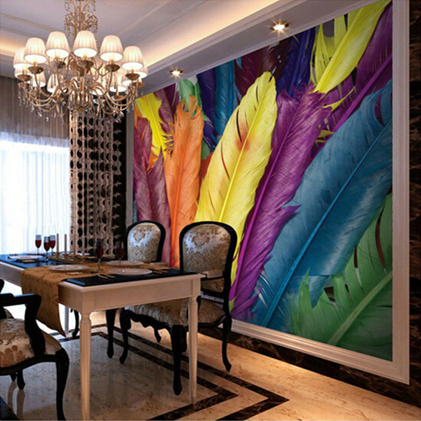 Arkadi Custom Photo Wall Paper 3d Colour Feathers Large Mural Wallpaper For Living Room Tv Background Home Decor Mural Papel De Parede Butterfly