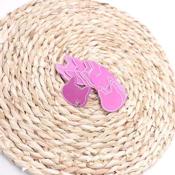 200pcs / lot 3.7x3.7cm Aretes de joyería pendientes de tarjetas de papel rosa fuerte Exhibidores empaque de la tarjeta joyería Tag Forma Etiqueta Tarjetas del gato