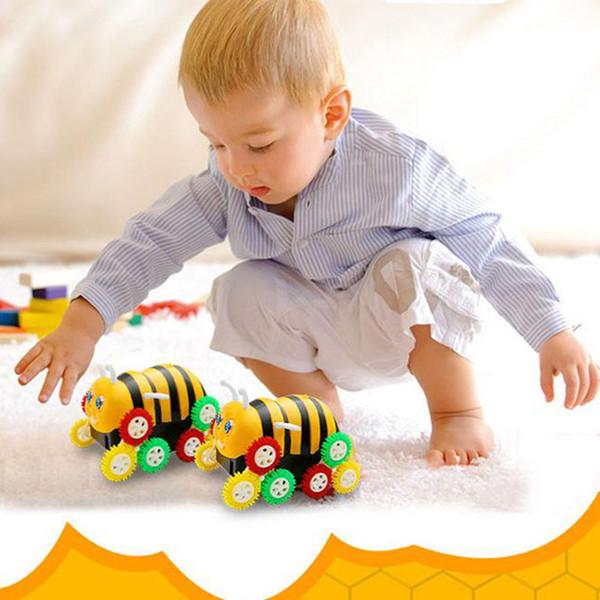 Juguetes para bebés Regalos divertidos lindos Eléctrico Colorido Dibujos animados 12 ruedas Abeja 360 Grados Tumbling Car Model Toy Car for Kids