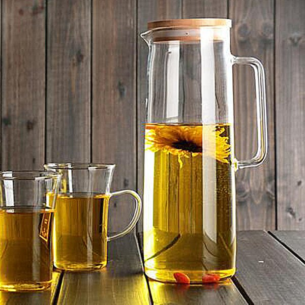 1500ml Heatproof Glass Carafe With Stainless Steel Or Bamboo Or Glass Lid Hot Or Iced Water Pitcher Fruit Flower Tea Water Bottle