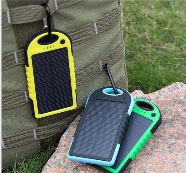 1 pcs carregador de energia solar 5000 mah bateria painel solar à prova d 'água à prova de choque à prova de poeira banco de potência portátil para telefone celular portátil câmera usb
