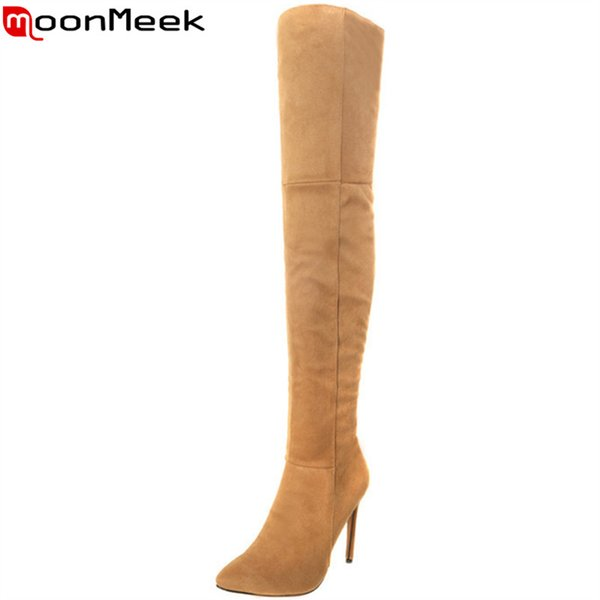 MoonMeek 2018 hot sale new over the knee boots pointed toezip flock thin high heels ladies thigh hight boots autumn winter
