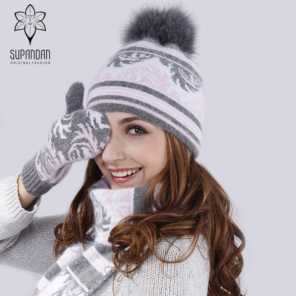 SUPANDAN Fox Fur Pom Poms Wool Winter Hats Leaves Pattern High Quality Vogue Knitted Ear Cuff Hat Scarf Gloves Set 8489TC1