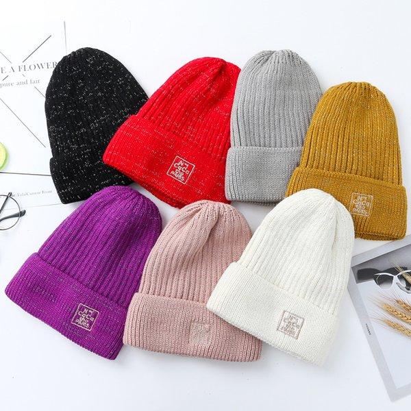 New autumn and winter outdoor pure color head cuffed sweater hat dome knitted embroidery hat