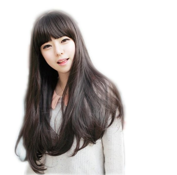 Women's best grade aaaa bangs 100% unprocessed remy virgin human hair long natural color natural straight full lace cap wig for lady