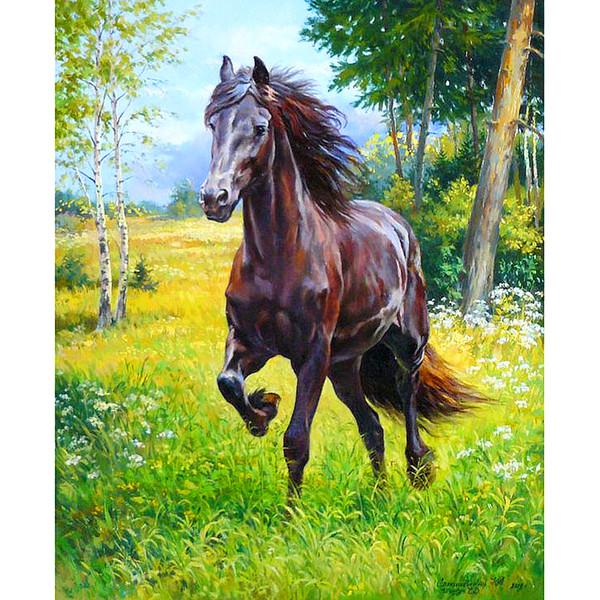 Manualidades 5D DIY Diamante bordado bosque corriendo caballo pintura diamante Punto de Cruz taladro completo Rhinestone mosaico decoración pintura