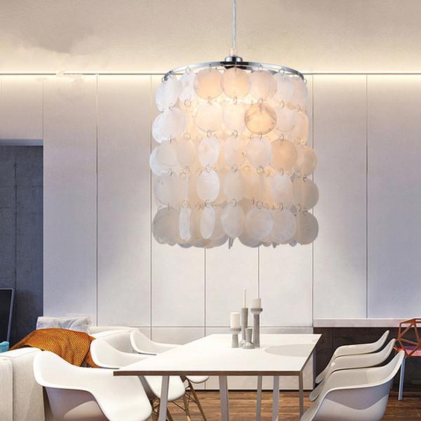 Acquista Fai Da Te Moderno Bianco Naturale Lampade A Sospensione Conchiglia  E14 LED Illuminazione A Conchiglia Sala Da Pranzo Soggiorno Cucina Camera  ...