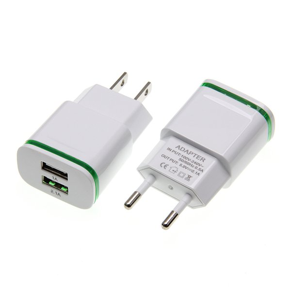 Universal 2 Ports USB Charger Adapter 2A Travel Charger LED Lamp USB Plug Multi Port HUB Adapter for iPhone iPad Samsung Xiaomi Redmi