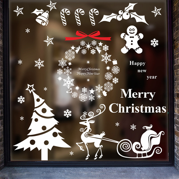 Merry Christmas Tree Wall Stickers Snowman Elk For Home Decor Snowflake Circle Bell Shop Windows Vinyl Wall Mural DIY Art Decalshaif