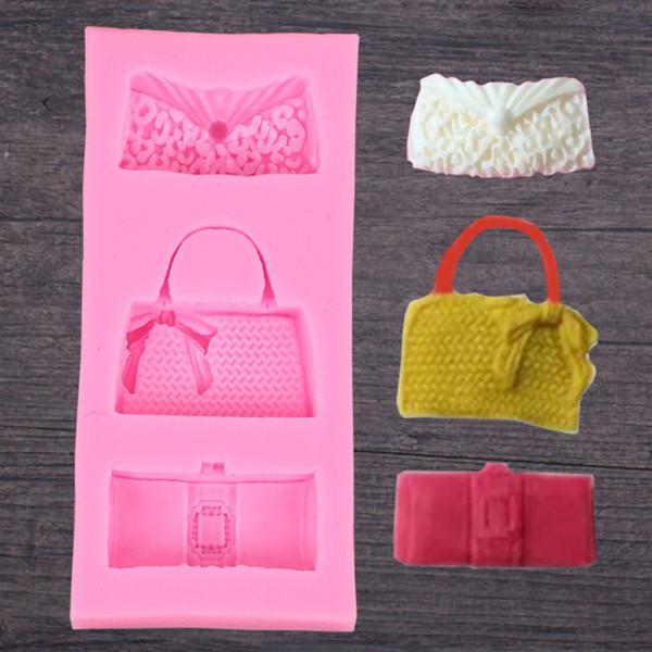 Hot bag robe de soirée sac DIY chocolat silicone moule savon à la main bonbons gâteau décoration outils de cuisson