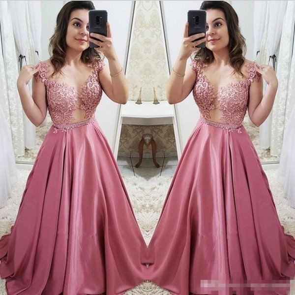 2019 Illusion Prom Dresses Vintage Dusty Pink Formal Long Evening Gowns Sheer Neckline Cap Sleeves Satin Long Girls Party Dress