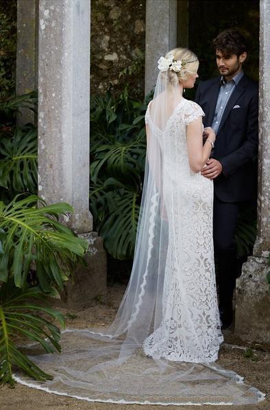 Hermosos velos de novia de encaje nupcial velo hecho a mano sexy apliques novia larga velo de novia con accesorios de peine tul barato