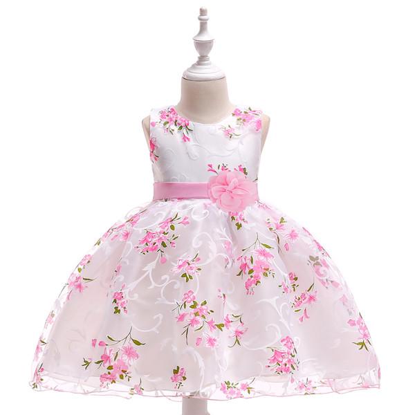 Compre 2019 Nueva Colección De Vestidos Niñas Traje De Bautizo Talla De Ropa Impresión De La Flor De 0 3 Años Ol Vestidos De Bautismo Bebé Buena Marca