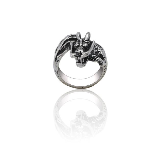 Anelli animali punk per donna Steampunk Dragon Ring Gioielli da uomo Anelli di serpente hip-hop regolabile in argento 3D Regali di Natale unisex