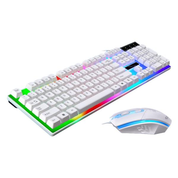 Jeu de souris et de clavier USB filaire lumineux avec rétro-éclairage arc-en-ciel Lumières LED de clavier mécanique ergonomiques