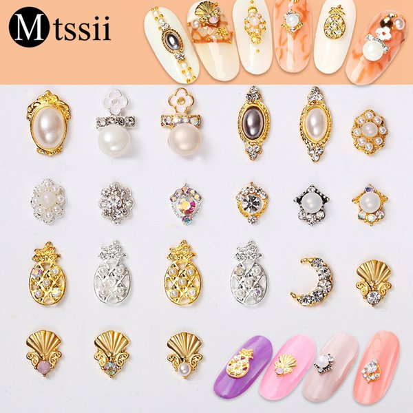 Mtssii 5pcs/lot Moon Pearl Pineapple Shaped Nail Art Jewelry 3D Bling Glitters Flowers Rhinestone Gems Stone Nail Decorations