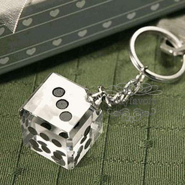 Las Vegas Themed Crystal Dice Keychain Wedding Favors Bridal Shower Anniversary Gifts Event Party Giveaways Key Ring Childrens Wedding Favours Party