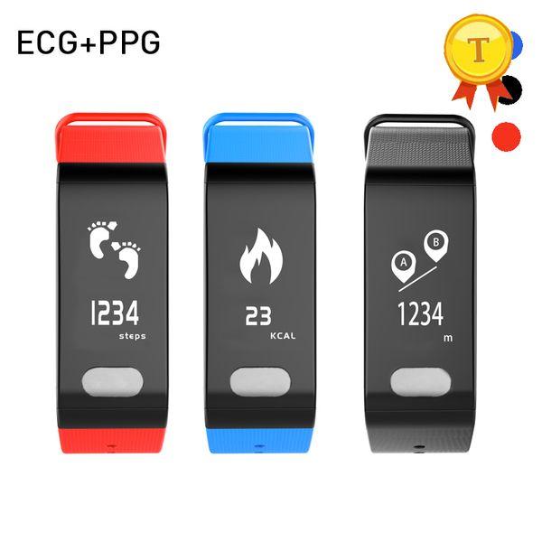 2018 nuevo llega ECG + PPG Presión Arterial Monitor de Frecuencia Cardíaca banda inteligente Fitness Tracker reloj de pulsera saludable para anciano mujer