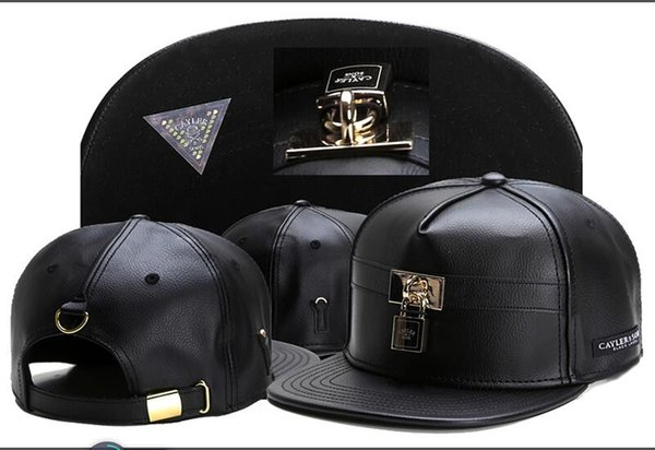 2018 new black Cayler & Sons leather lock Baseball Caps Casquettes chapeus hip hop Outdoor Sports Snapback Hats For Men Women high quality