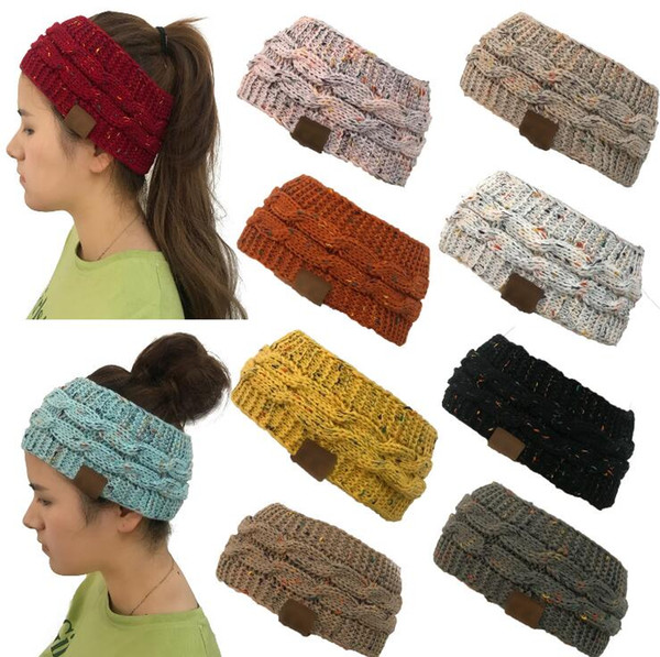 top popular Knitted Headband 14 Colors Colorful Confetti Winter Warm Cable Knit Earflaps Cap Hair Band Twist Headbands Headwear OOA5459 2021