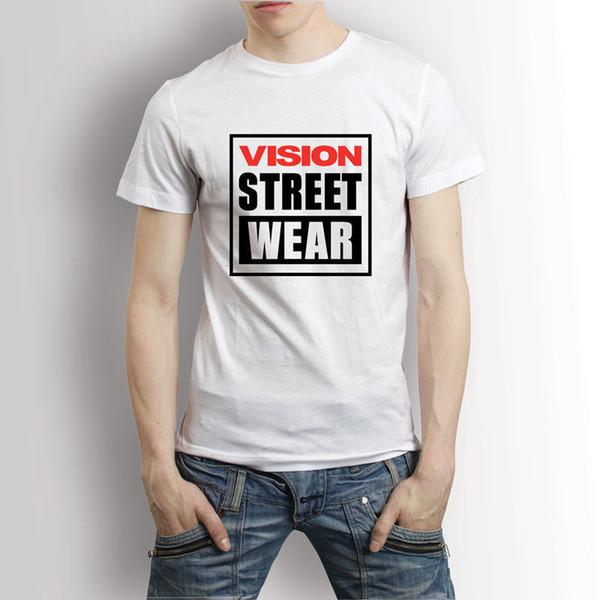 Vision Street Wear Logo White T-shirt Men's Tee 2017 Short Sleeve Cotton T Shirts Man Clothing Short Sleeve T Shirt Men