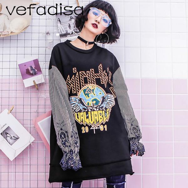 Vefadisa Sweatshirt for Women 2018 Spring Tops Long-Sleeved Pullover Embroidery Long Sweatshirts Black Printed Sweatshirts AD826