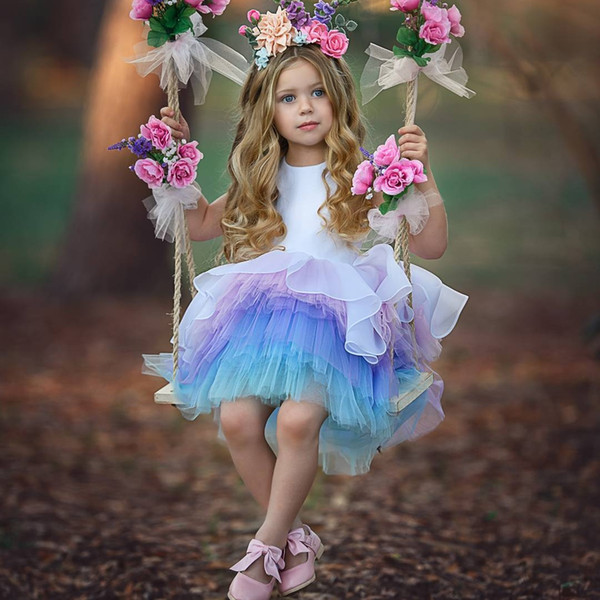 Gorgeous Ombre Rainbow Princess Flower Girls Dresses For Wedding Tiered Toddler Pageant Gowns Knee Length Tulle Ball Gown Kids Prom Dress